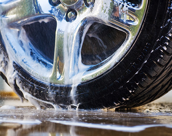 Car tire with soapy water