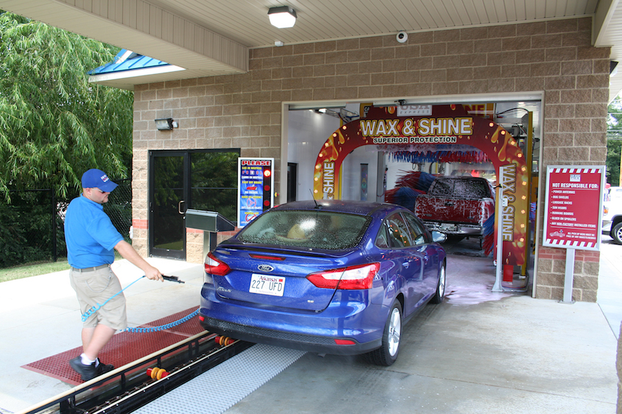 Car Wash In Progress at the Entrance